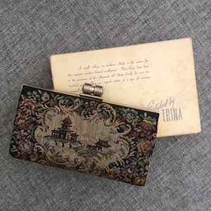 Vintage tapestry clutch with box and comb